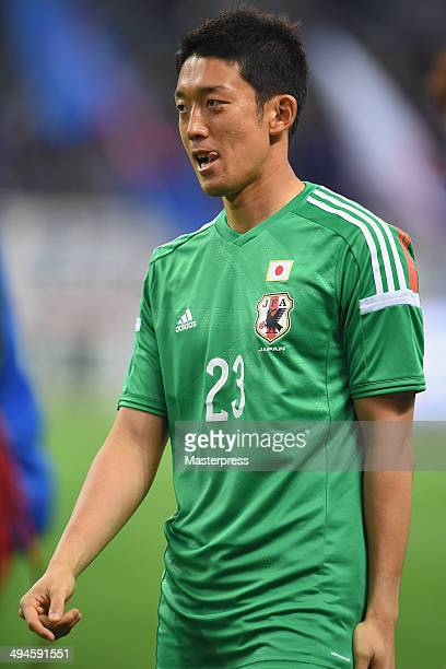 Shuichi Gonda of Japan looks on after the Kirin Challenge Cup international friendly match between Japan and Cyprus at Saitama Stadium on May 27 2014...