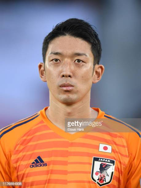 Shuichi Gonda of Japan looks on prior to the AFC Asian Cup final match between Japan and Qatar at Zayed Sports City Stadium on February 01 2019 in...