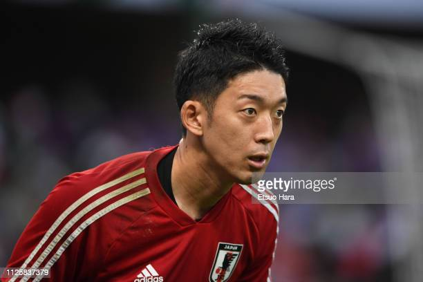 Shuichi Gonda of Japan warms up prior to the AFC Asian Cup semi final match between Iran and Japan at Hazza Bin Zayed Stadium on January 28 2019 in...