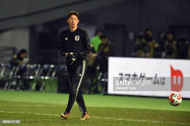 Shuichi Gonda of Japan warms up prior to the EAFF E1 Men's Football Championship between Japan and South Korea at Ajinomoto Stadium on December 16...