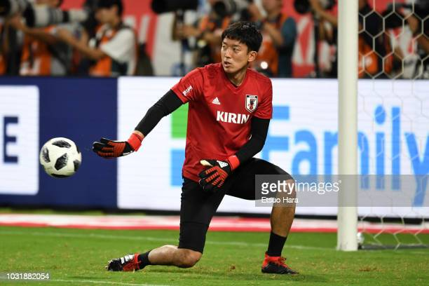 Shuichi Gonda of Japan warms up prior to the international friendly match between Japan and Costa Rica at Suita City Football Stadium on September 11...