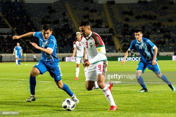 Shukhrat Mukhamadiev of Uzbekistan Amine Harit of Morocco Sofiane Boufal of Morocco Odil Xamrabekov of Uzbekistan during the international friendly...