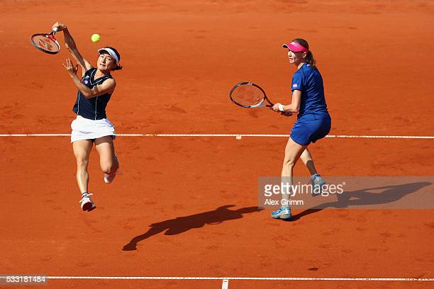 Shuko Aoyama of Japan and Renata Voracova of Czech Republic in action during their doubles final match against Kiki Bertens of Netherlands and...
