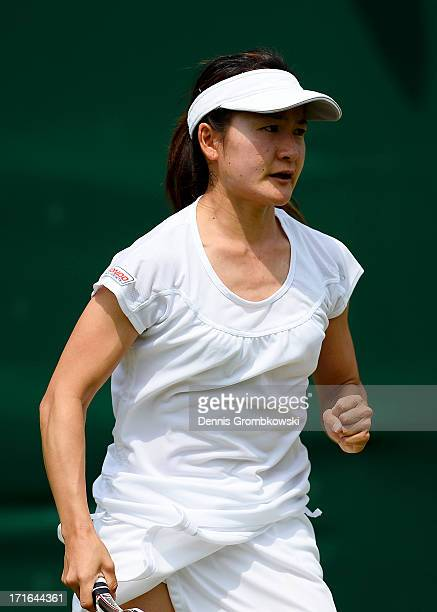 Shuko Aoyama of Japan celebrates a point during the Ladies' Doubles first round match between Anastasia Pavlyuchenkova of Russia and Lucie Safarova...