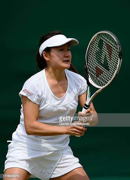 Shuko Aoyama of Japan in action during the Ladies' Doubles first round match between Anastasia Pavlyuchenkova of Russia and Lucie Safarova of Czech...