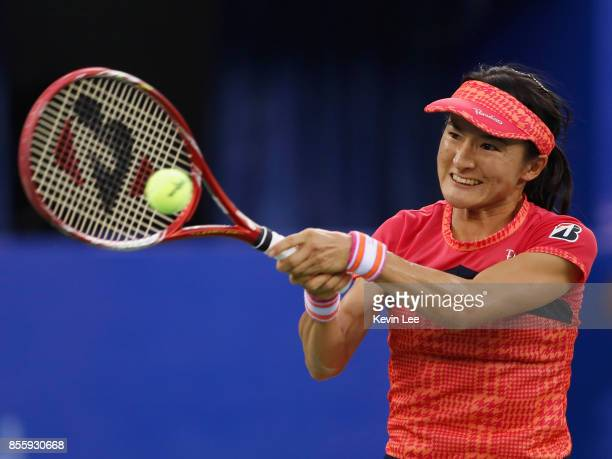 Shuko Aoyama of Japan in action in Finals Double match between YungJan Chan of Chinese Taipei and Martina Hingis of Switzerland and Shuko Aoyama of...
