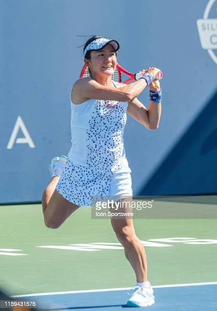Shuko Aoyama returns a volley in the Doubles Semi-Final match of the Mubadala Silicon Valley Classic on Saturday, August 3, 2019 at San Jose State...