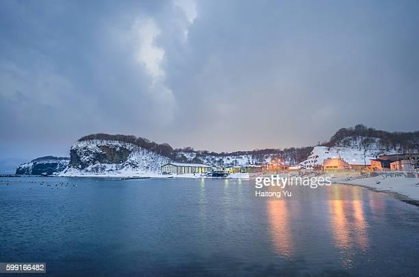 Shukutsu fishing village at blue hour, Hokkaido, Japan.