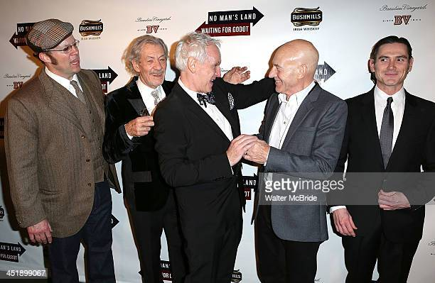 Shuler Hensley Ian McKellen Director Sean Mathias Patrick Stewart and Billy Crudup attend the No Man's Land Waiting For Godot Opening Night after...