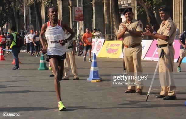 Shumet Akalnaw of Ethiopia second position of Mumbai Marathon at the finishing line on January 21 2018 in Mumbai India