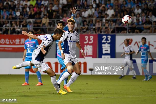 Shun Nagasawa of Gamba Osaka heads the ball to score his side's second goal during the J.League J1 match between Sagan Tosu and Gamba Osaka at Best...