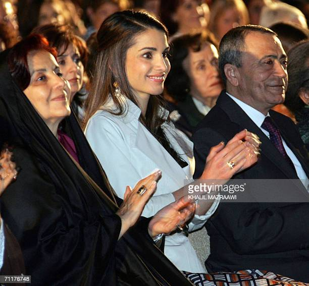 Bahrain's First Lady Sheikha Sabeeka Jordan's Queen Rania and Jordanian Prime Minister Marouf AlBakhit attend the Opening Ceremony of the Global...