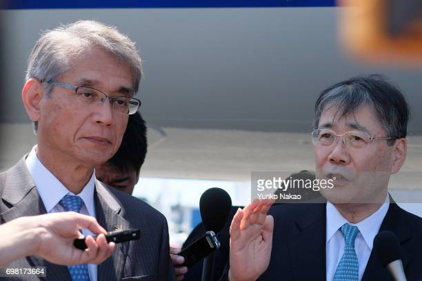 Shunichi Miyanaga Mitsubishi Heavy Industries' President and Chief Executive Officer and Hisakazu Mizutani Mitsubishi Aircraft Corporation's...