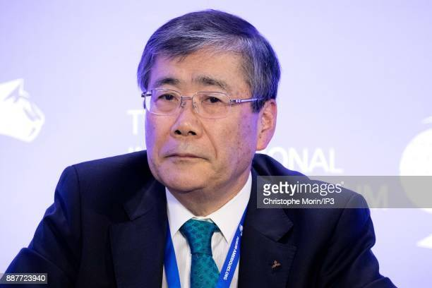 Shunichi Miyanaga President and CEO Mitsubishi Heavy Industries attends the International Economic Forum of the Americas in Paris on December 7 2017...