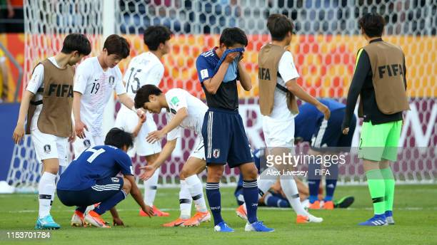 Shunki Higashi of Japan looks dejected in defeat after the 2019 FIFA U20 World Cup Round of 16 match between Japan and Korea Republic at Arena Lublin...