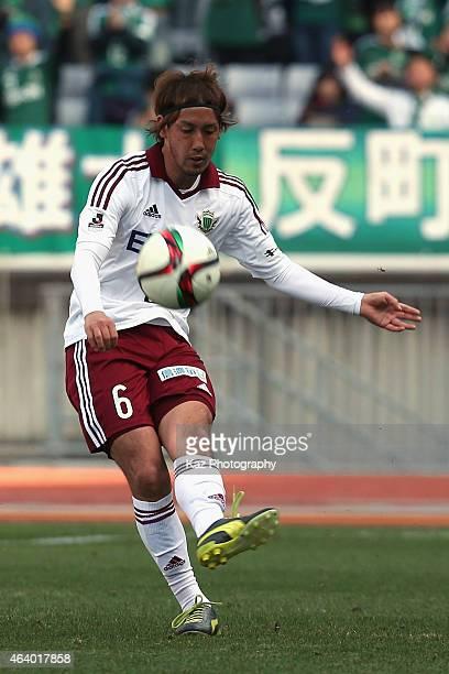 Shunsuke Iwanuma of Matsumoto Yamaga in action during the JLeague 2015 preseason match between Yokohama F Marinos and Matsumoto Yamaga at Nissan...
