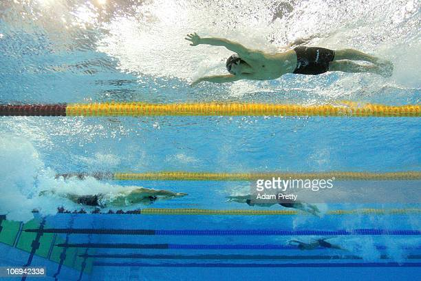 Shunsuke Kuzuhara of Japan carries a good lead into the final leg in the Men's 4x100 Medlet Relay heat 2 during day six of the 16th Asian Games...
