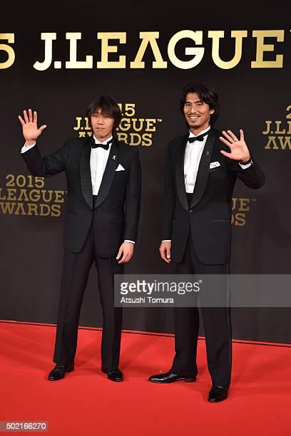 Shunsuke Nakamura and Yuji Nakazawa of Yokohama F Marinos attend the J. League Awards 2015 on December 21, 2015 in Tokyo, Japan.