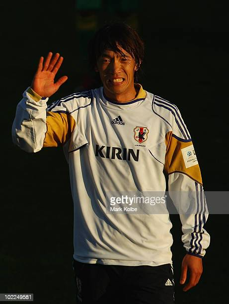 Shunsuke Nakamura gestures at a Japan training session during the FIFA 2010 World Cup at Outeniqua Stadium on June 20 2010 in George South Africa