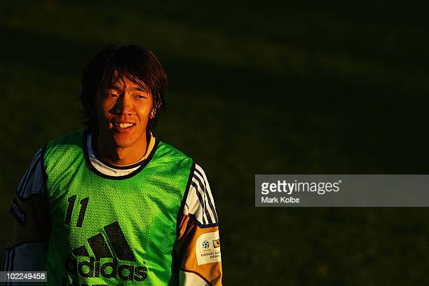 Shunsuke Nakamura looks on at a Japan training session during the FIFA 2010 World Cup at Outeniqua Stadium on June 20 2010 in George South Africa