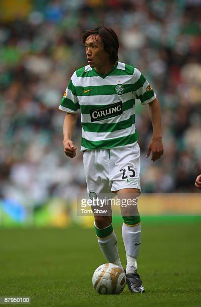 Shunsuke Nakamura of Celtic in action during the Scottish Premier League match between Celtic and Hearts at Parkhead on May 24 2009 in Glasgow...
