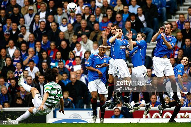 Shunsuke Nakamura of Celtic takes a free kick during the Scottish Premier League match between Rangers and Celtic at Ibrox Stadium on October 20 2007...