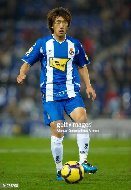 Shunsuke Nakamura of Espanyol in action during the La Liga match between Espanyol and Racing de Santander at Nuevo Estadio de CornellaEl Prat on...