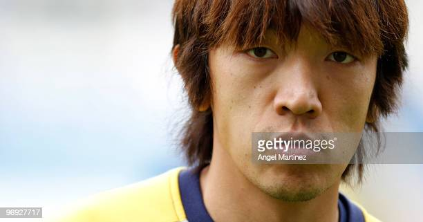 Shunsuke Nakamura of Espanyol looks on during the pre-match warm-up before the start of the La Liga match between Malaga and Espanyol at La Rosaleda...