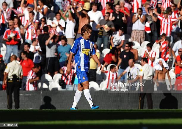 Shunsuke Nakamura of Espanyol reacts after Athletic Bilbao scored a goal during the La Liga match between Espanyol and Athletic Bilbao at the San...