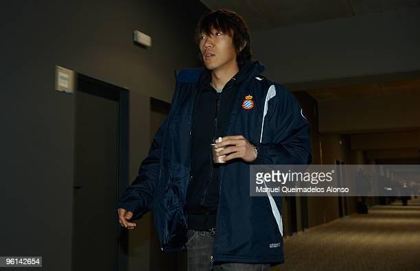 Shunsuke Nakamura of Espanyol walks to the vip room before the start of the La Liga match between Espanyol and Mallorca at Nuevo Estadio de...
