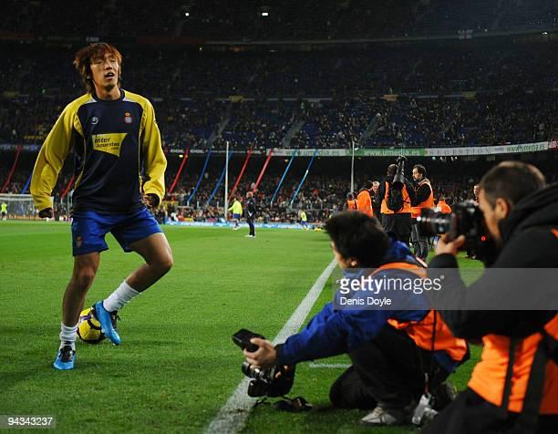 Shunsuke Nakamura of Espanyol warmsup before the La Liga match between Barcelona and Espanyol at the Camp Nou stadium Stadium on December 12 2009 in...