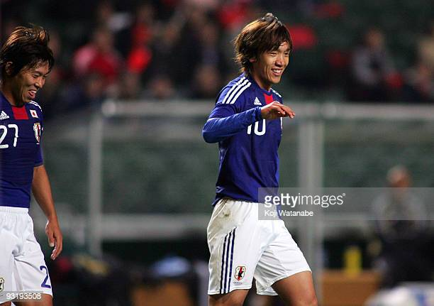 Shunsuke Nakamura of Japan celebrates the third goal during AFC Asia Cup 2011 Qatar qualifier match between Hong Kong and Japan at Hong Kong Stadium...
