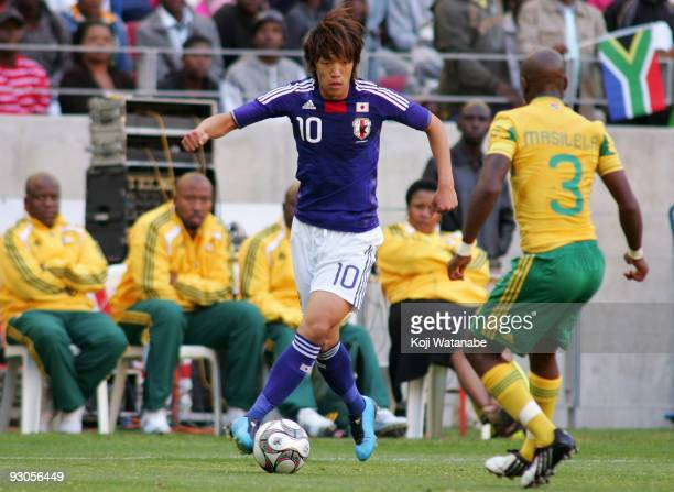 Shunsuke Nakamura of Japan in action during the international friendly match between South Africa and Japan at the Nelson Mandela Bay Stadium on...