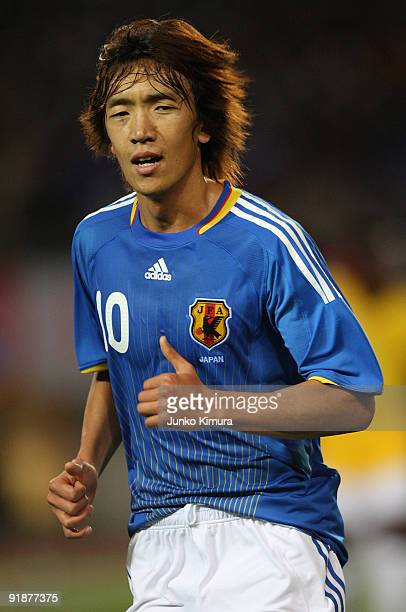 Shunsuke Nakamura of Japan in action during the Kirin Challenge Cup 2009 match between Japan and Togo at Miyagi Stadium on October 14 2009 in Rifu...