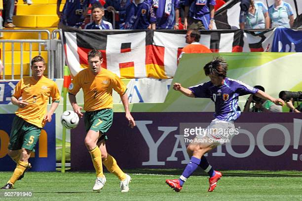 Shunsuke Nakamura of Japan scores his team's first goal during the FIFA World Cup Germany 2006 Group F match between Australia and Japan at the Fritz...