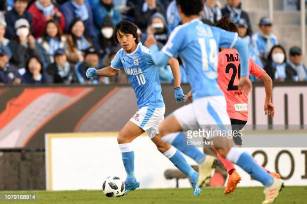 Shunsuke Nakamura of Jubilo Iwata controls the ball during the JLeague J1/J2 playoff final between Jubilo Iwata and Tokyo Verdy at Yamaha Stadium on...
