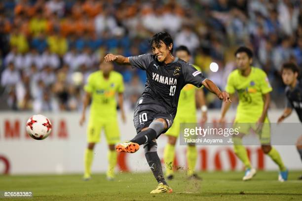 Shunsuke Nakamura of Jubilo Iwata converts the penalty to score the opening goal during the J.League J1 match between Jubilo Iwata and Sanfrecce...