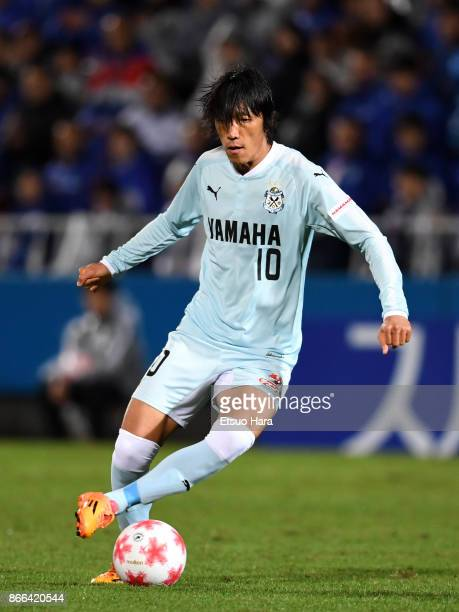 Shunsuke Nakamura of Jubilo Iwata in action during the 97th Emperor's Cup quarter final match between Yokohama FMarinos and Jubilo Iwata at Nippatsu...