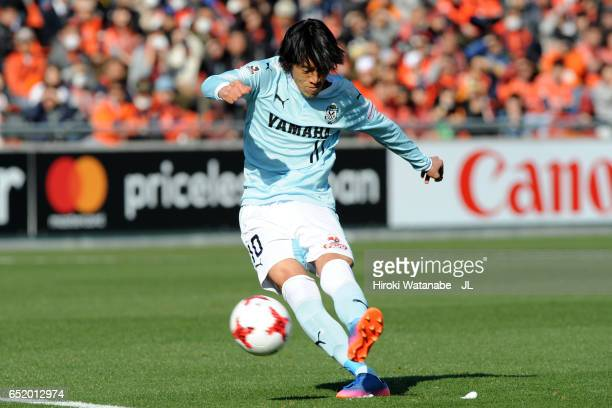 Shunsuke Nakamura of Jubilo Iwata scores the opening goal from a free kick during the J.League J1 match between Omiya Ardija and Jubilo Iwata at Nack...