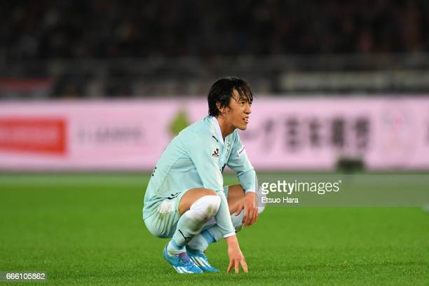 Shunsuke Nakamura of Jubilo Iwata shows dejection after his side's 1-2 defeat in the J.League J1 match between Yokohama F.Marinos and Jubilo Iwata at...