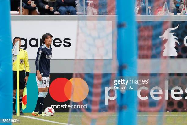 Shunsuke Nakamura of Jubilo Iwata takes a corner kick during the JLeague J1 match between Sagan Tosu and Jubilo Iwata at Best Amenity Stadium on...
