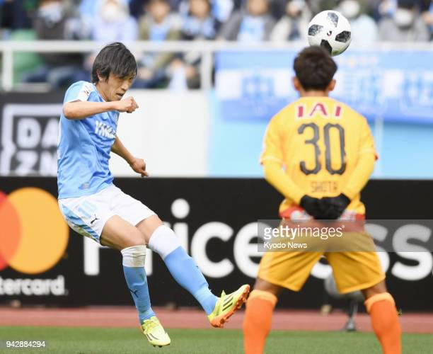 Shunsuke Nakamura of Jubilo Iwata takes a free kick during the first half of a 00 draw with Shimizu SPulse at Ecopa Stadium in Shizuoka Prefecture on...