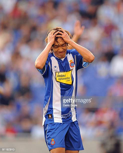 Shunsuke Nakamura of RCD Espanyol reacts after his shot went wide of target during the La Liga match between Espanyol and Xerez CD at Estadi Olimpic...