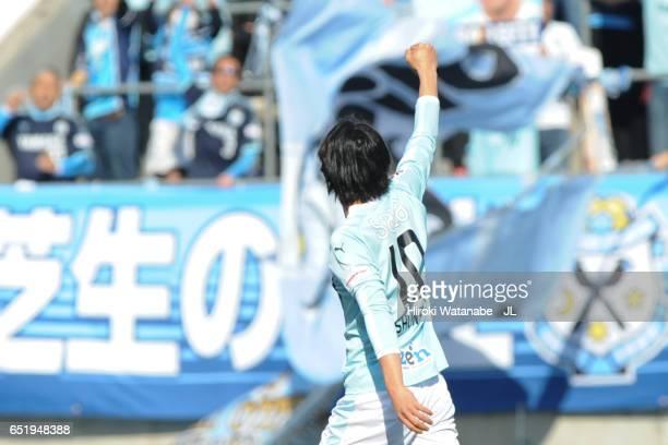 Shunsuke Nakamura of the Jubilo Iwata celebrates scoring the opening goal during the JLeague J1 match between Omiya Ardija and Jubilo Iwata at Nack 5...