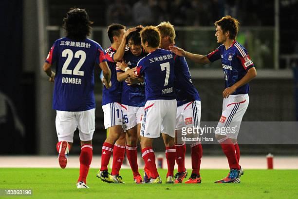 Shunsuke Nakamura of Yokohama FMarinos celebrates the second goal during the 92nd Emperor's Cup third round match between Yokohama FMarinos and...