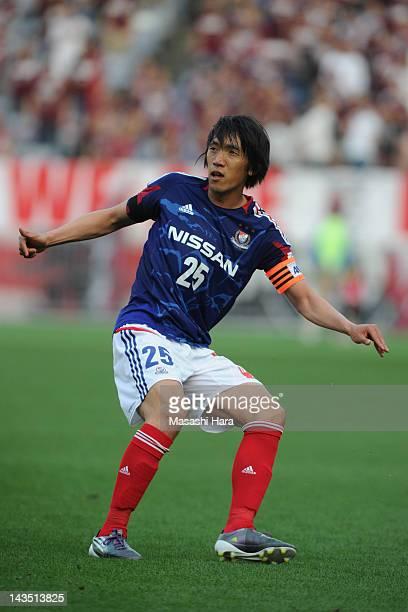 Shunsuke Nakamura of Yokohama FMarinos in action during the JLeague match between Yokohama FMarinos and Vissel Kobe at Nissan Stadium on April 28...