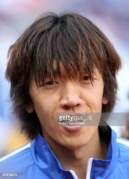 Shunsuke Nakamura of Yokohama Marinos is seen during the J.League match between Yokohama Marinos and Shonan Bellmare at the Nissan Stadium on March...