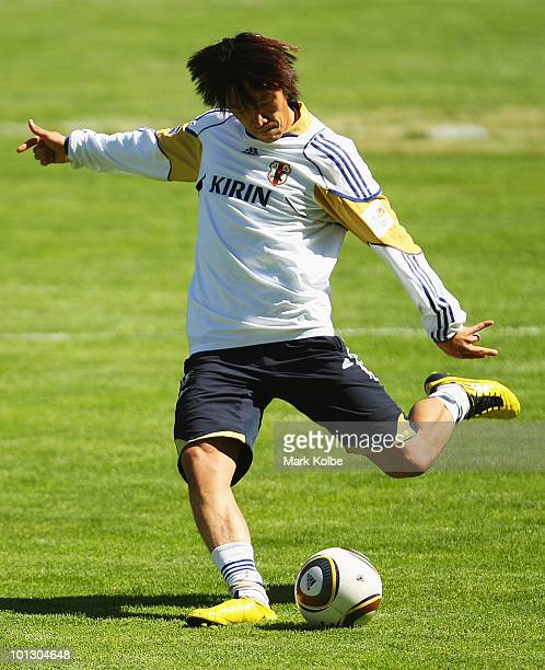 Shunsuke Nakamura shoots at goal before a practice match between Japan XI and Sion XI as part of Japan training on May 31 2010 in St Niklaus...