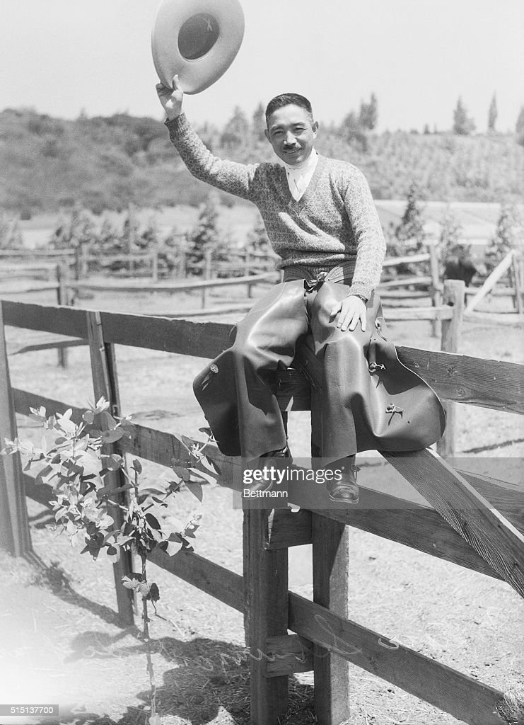 Shunzo Kido, of the 1932 Japanese Equestrian Olympics Team, dressed in cowboy garb. Shunzo participated in the steeplechase event at the Olympics, and was one jump from a certain victory for the gold medal when he felt his horse go lame. He chose to stop his race there and dismount, sparing his horse's life, rather then complete the race and win. He was later honored with several awards for his humane actions. He and the other foreign equestrian riders trained at the Riviera Country Club in Santa Monica,where the Olympic Equestrian events were held.