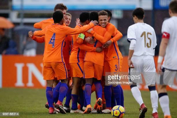 Shurandy Sambo of Holland U17 Ramon Hendriks of Holland U17 Daishawn Redan of Holland U17 Liam van Gelderen of Holland U17 during the match between...